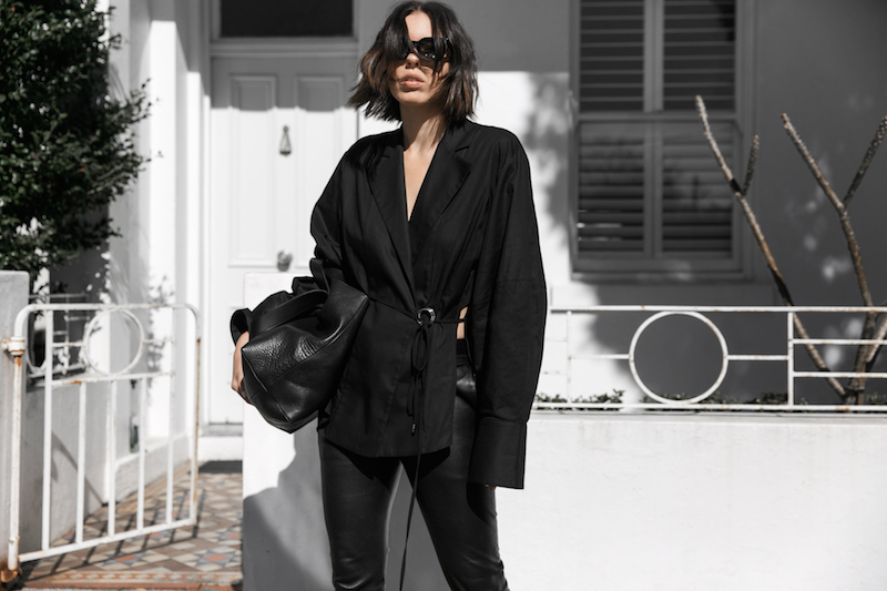 all black outfit minimal street style oversized shirt leather pants shearling slides fashion blogger michael lo sordo shirt bassike chloe kaity modern legacy Instagram  (1 of 7)