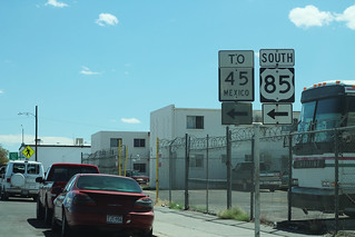 To Mexico 45 + US85 Signs