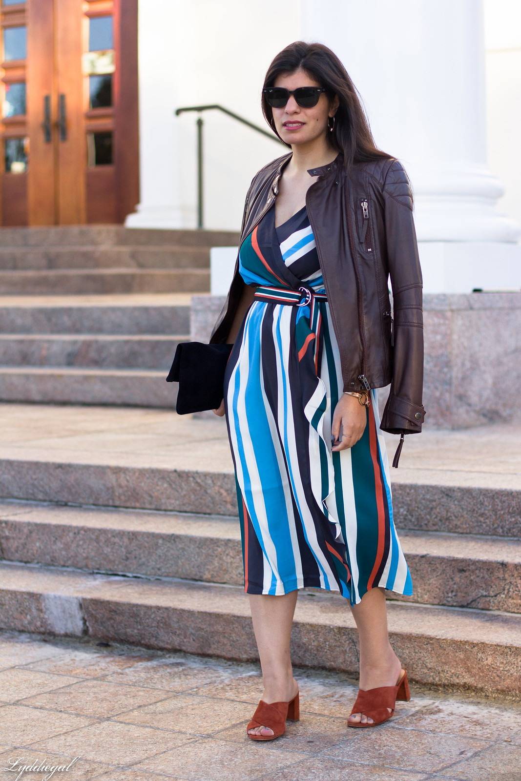 striped midi dress, leather jacket, mules, foldover clutch-2