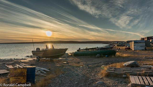 Sunset.  Baker Lake, Nunavut.