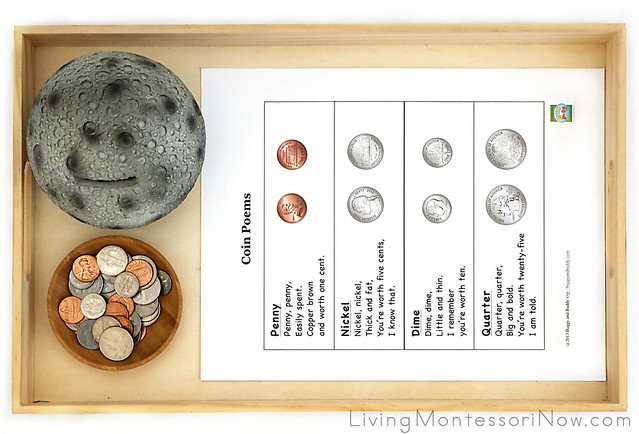 Moon Bank with Coin Poems and Sorting Activity