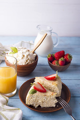 healthy breakfast cottage cheese casserole with juice