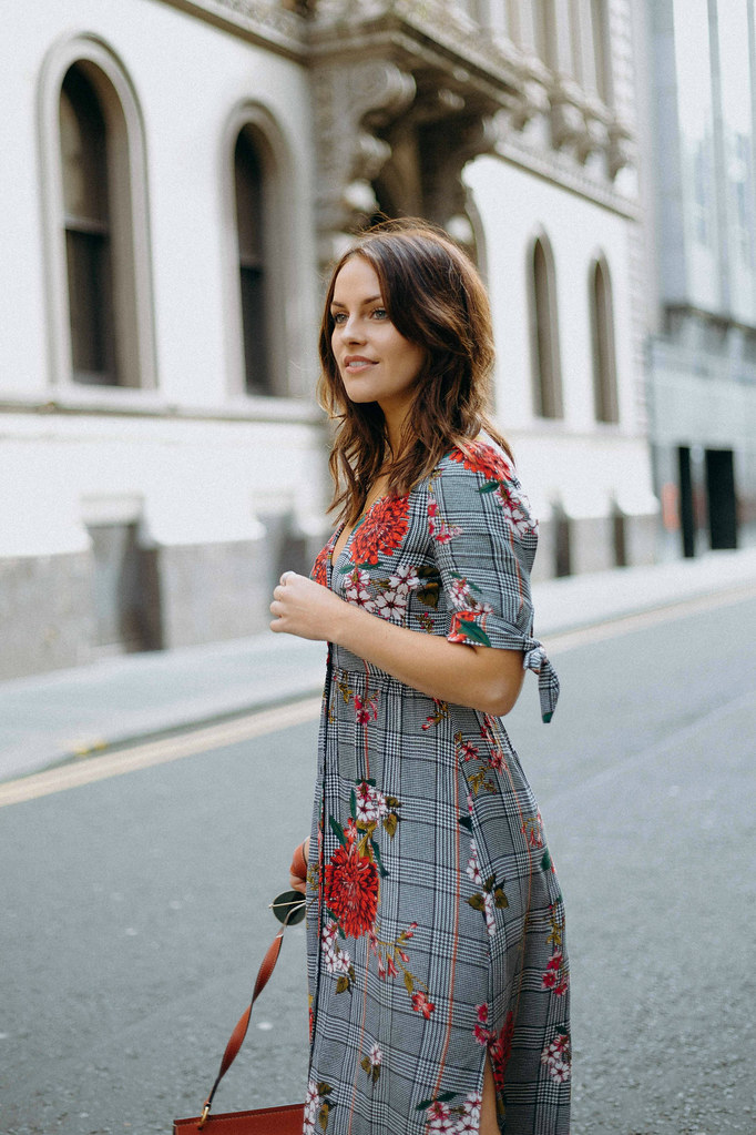 The Little Magpie Mango Check Floral Dress