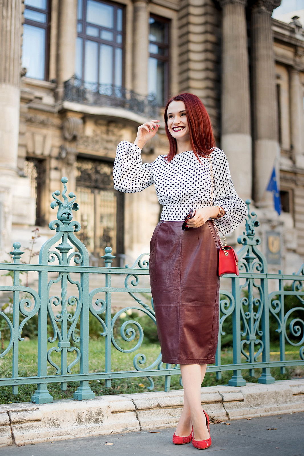 polka dots and leather skirt