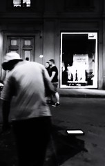 Night in the city Blurred Motion Street Motion Real People Men Architecture City Outdoors Day People Blackandwhite Black & White Streetlights Lifestyles Taking Photos
