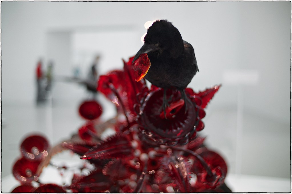 Carroña (Carrion), By Javier Perez, Glass and Taxidermied Crows, Corning Museum of Glass, October 12, 2017