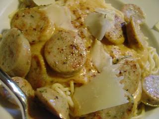 creamy pumpkin sauce with roasted garlic chicken sausage