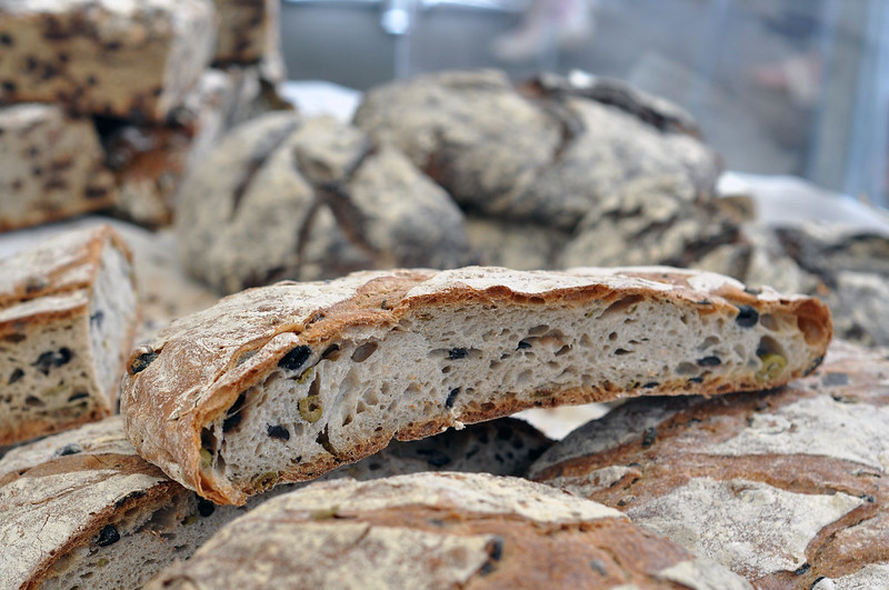 Delicious bread with olives