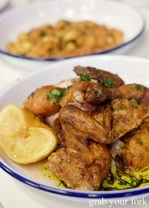 Spatchcock with lemon and tarragon butter at Mr Liquor's Dirty Italian Disco by Pinbone at the Tennyson Hotel Bottle Shop in Mascot