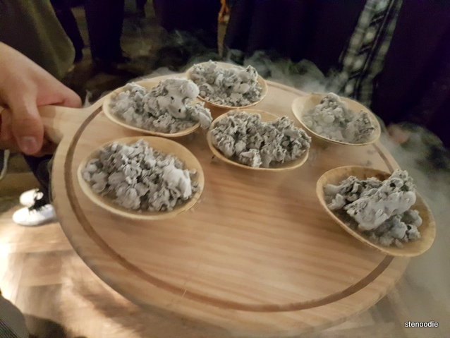 Liquid nitrogen black sesame ice cream