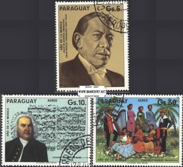 Známky Paraguaj 1985 Rok hudby, razítkovaná séria