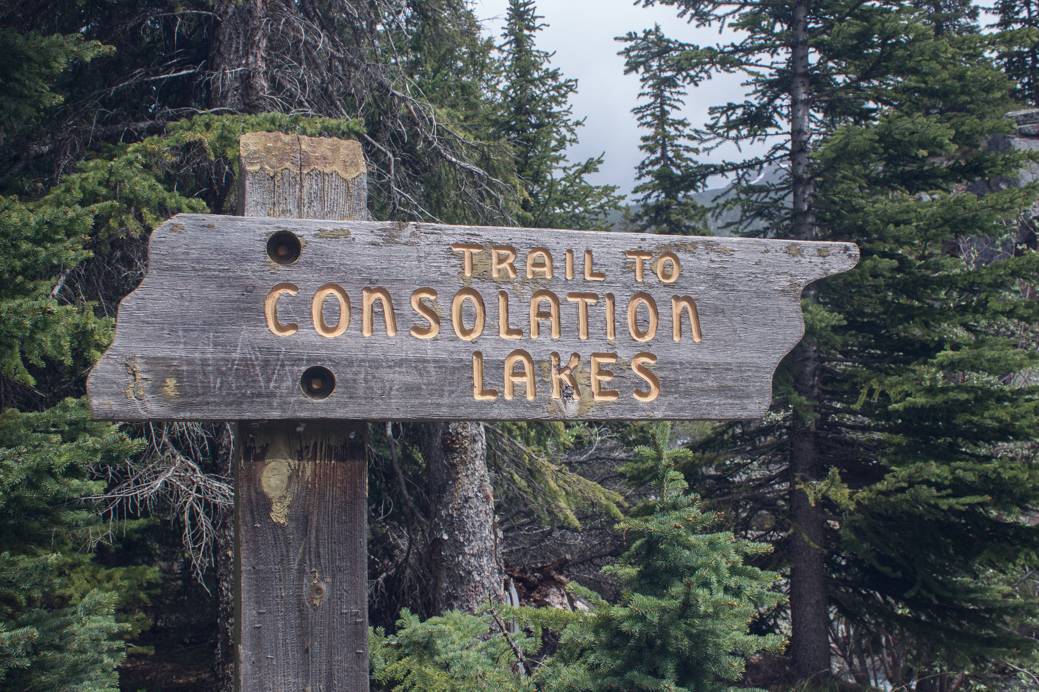 Sign for Consolation Lakes trail