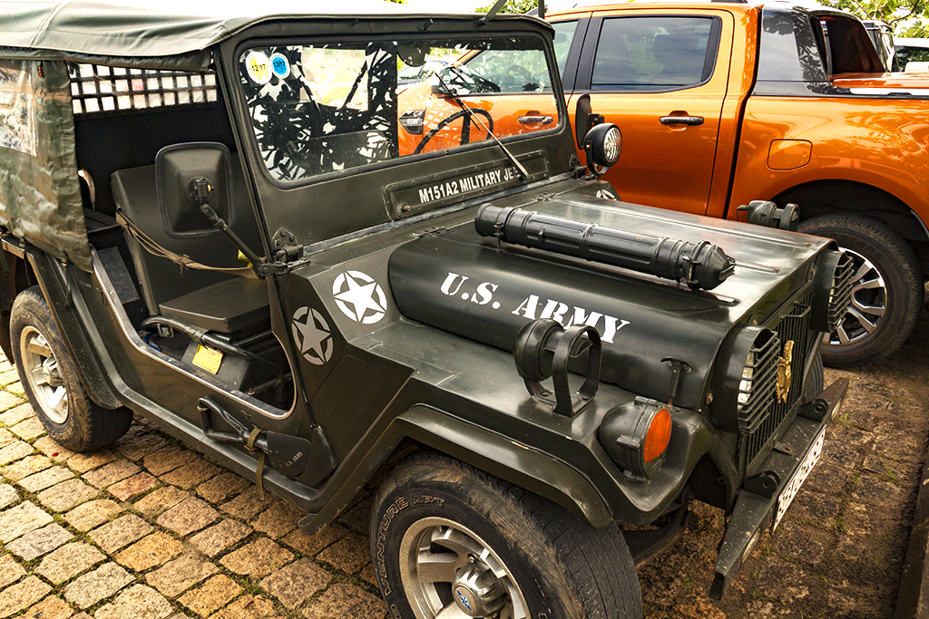 US Army jeep parked outside Ocean Cafe--Phan Thiet