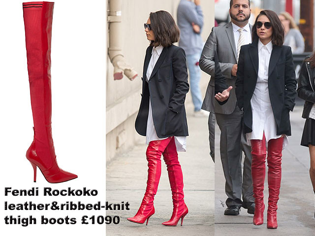 a207b4836bb Mila Kunis in Fendi Rockoko leather and ribbed-knit thigh boots ...