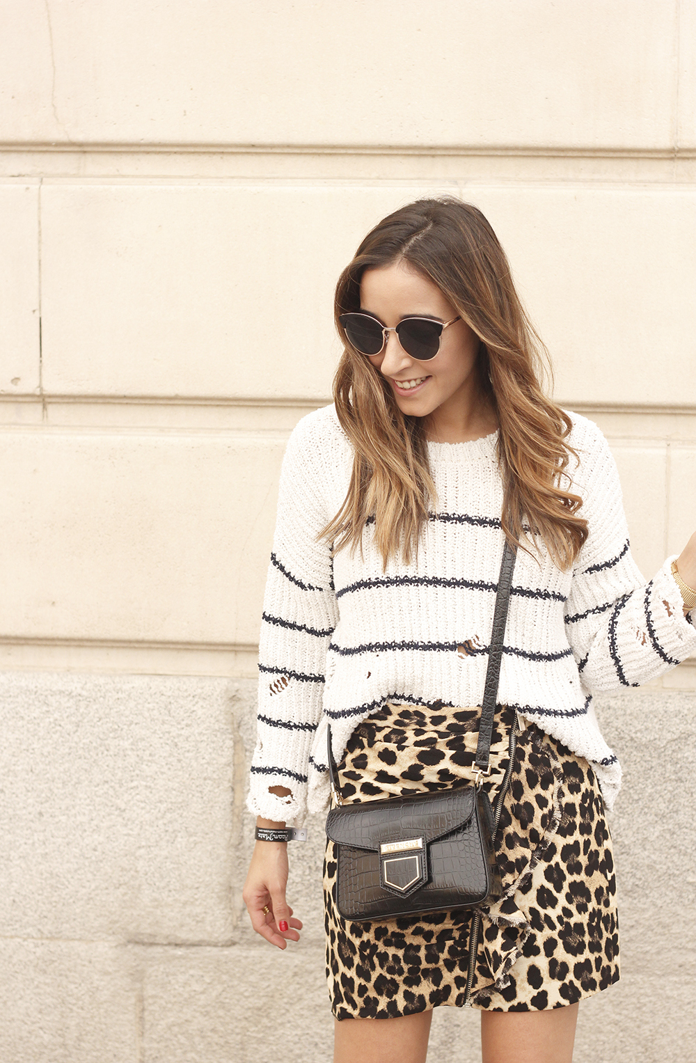 leopard printed skirt striped sweater givenchy bag outfit fashion style trend16