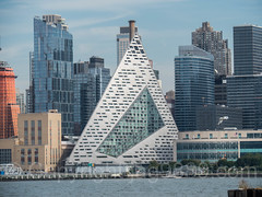 VIA 57 West Pyramid Shaped Tower Block on the Hudson River, New York City