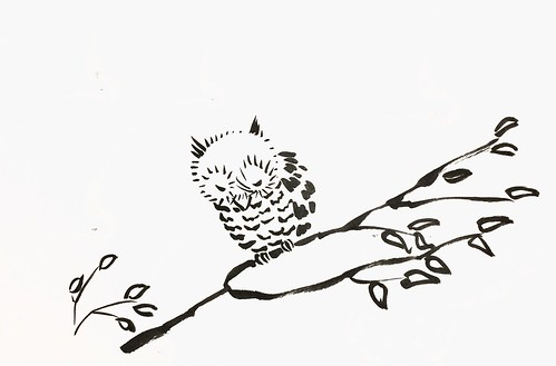 sumi-e owl ink brush drawing