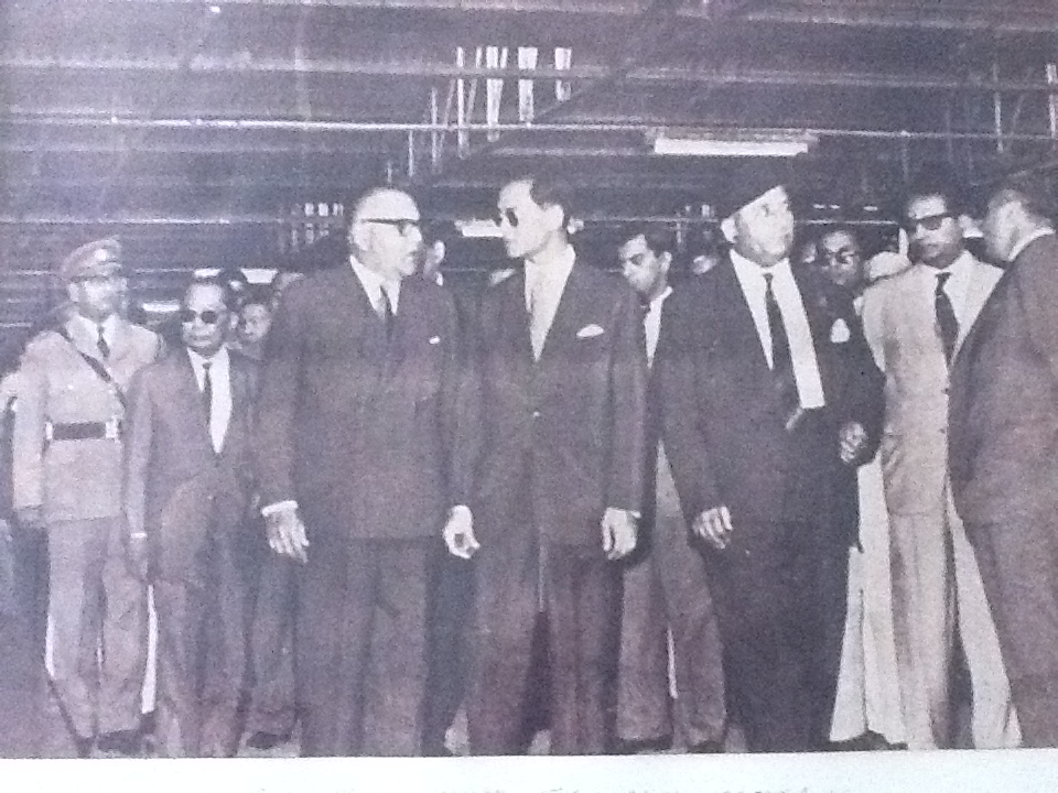 His Majesty Bhumibol Adulyadej with Abdul Wahid Adamjee and M.H Adamjee at Adamjee Jute Mill, East Pakistan in March 1962