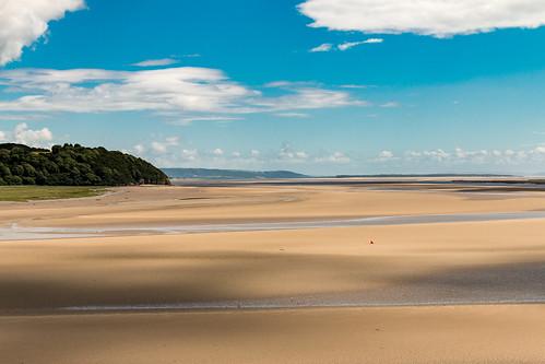 carmarthenshire laugharne wales estuary water river sand tidal coast landscape buoy afon taf trees outdoor
