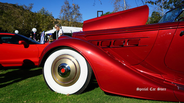 "1936 Packard Coachbuilt Custom Roadster ""The Peninsula"" at Red White and Blue theme Art Center Car Classic 2017"