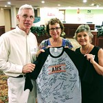 IMG_20170923_231538389 What a nice touch David Waggoner, Carol Lippard and Sarah Townsend Stevenson holding an AHS shirt that everyone from the class of 1977 signed for Mike Miller who couldn't attend the reunion Sat Sep 23 2017 11-15pm