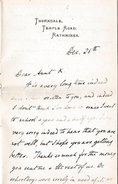 Letter to Miss Katherine Stevenson, 30 Great Victoria St., Belfast