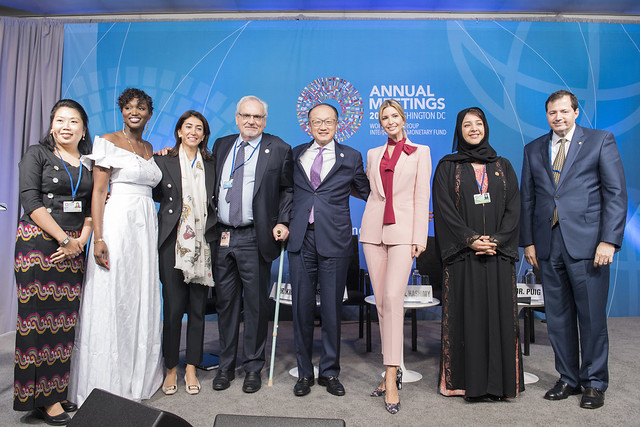 Sat, 10/14/2017 - 12:06 - October 14, 2017 - WASHINGTON, DC. World Bank / IMF 2017 Annual Meetings. Taking Women-Owned Businesses to the Next Level  Jim Yong Kim, President, World Bank Group; Ivanka Trump, Senior Adviser To The President Of The United States; Reem Bint Ebrahim Al Hashimy, Minister Of State For International Cooperation, United Arab Emirates; Steven Puig, CEO, Banco BHD; Philippe Le Houérou, CEO, IFC; Anta Babacar Ngom, Executive Director, Sedima; Nour Al-Hassan, CEO, Tarjama; Win Win Tint, CEO, City Mart Holding Company. Photo:  World Bank / Franz Mahr  Photo ID: DSC2420ff