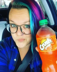 "Awwww yeah. Orange crush time. The ultimate ""how is it Sunday?"" drink. Or something. . . . . #selfie #sunday #orangecrush #bluehair #mermaid #hashtag #atx"