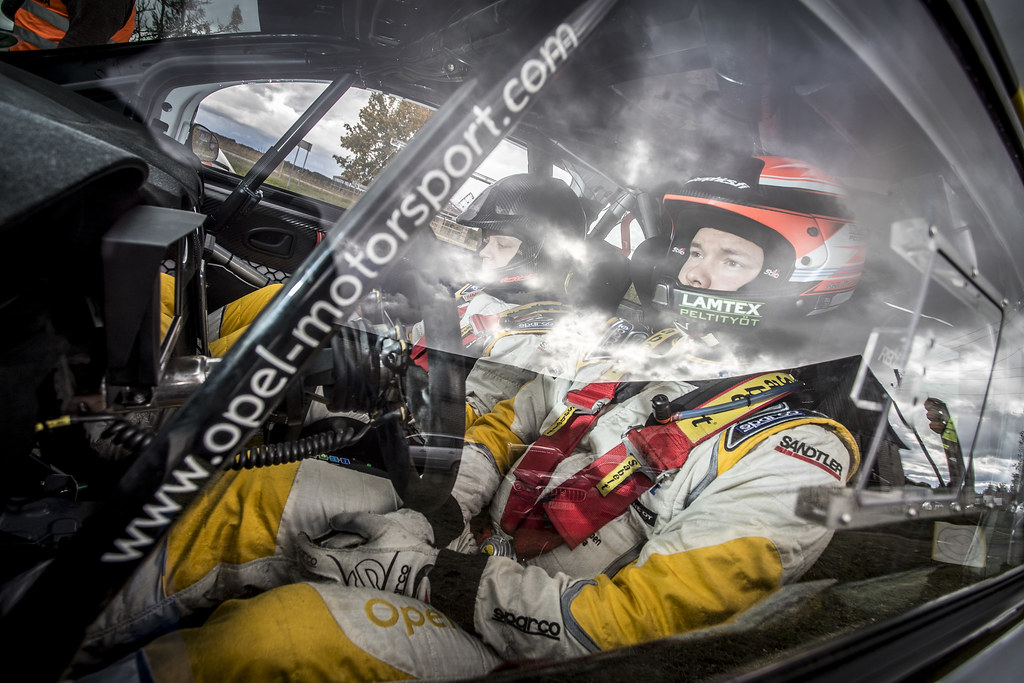 Huttunen Jari and Linnaketo Antti, ADAC Opel Rallye Junior Team, Opel Adam R2 ERC Junior U27 ambiance portrait during the 2017 European Rally Championship ERC Liepaja rally,  from october 6 to 8, at Liepaja, Lettonie - Photo Gregory Lenormand / DPPI