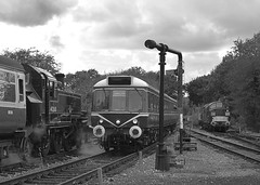 Former Leicester Station Pilot 41268 (41312 in disguise) on a recently arrived service from Ongar, is passed by the Class 117 DMU arriving from Epping Forest. D6729 is stabled behind on the right. 08 10 2017