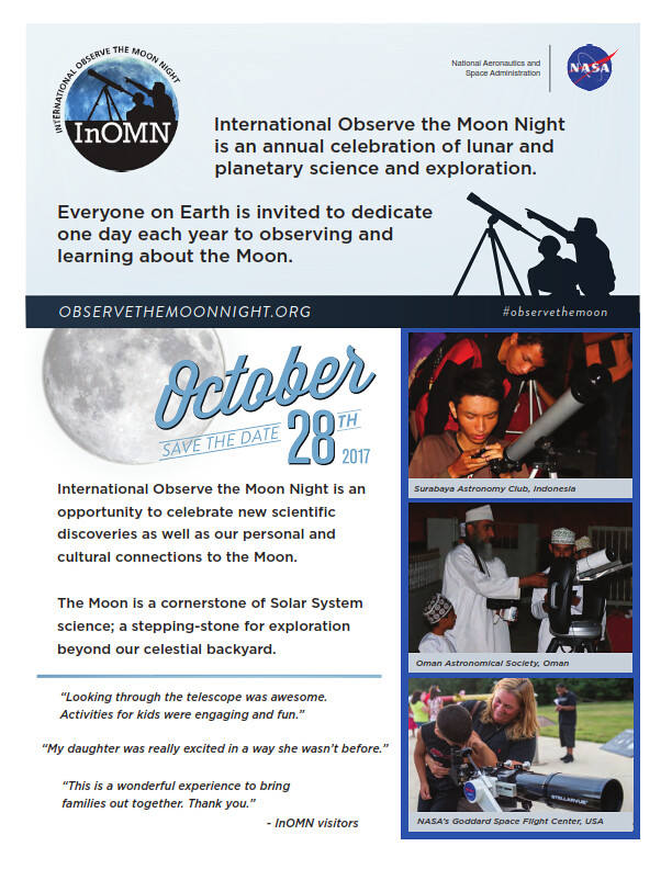 Image of the official flyer for International Observe the Moon Night