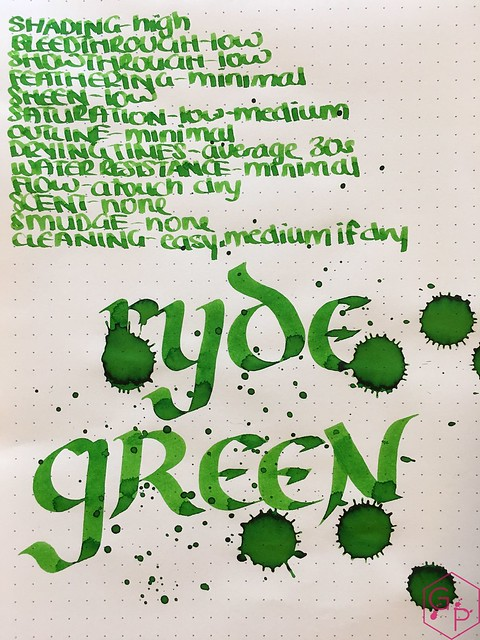 Ink Shot Review @RobertOsterInk Ryde Green @MilligramStore 8