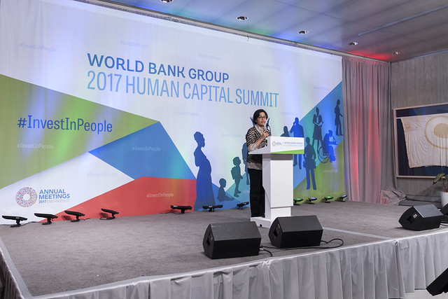 Fri, 10/13/2017 - 16:31 - October 13, 2017 - WASHINGTON, DC. World Bank / IMF 2017 Annual Meetings. Human Capital Summit: Committing to Action to Drive Economic Growth. Watch Event  Jim Yong Kim, President, World Bank Group; Paul Kagame, President Of Rwanda; Amadou Gon Coulibaly, Prime Minister, Cote D'Ivoire; Sri Mulyani Indrawati, Minister Of Finance, Indonesia; H.E. Luis Caputo, Minister Of Finance, Argentina; Priti Patel, MP, Secretary Of State, Uk Department For International Development; Lilianne Ploumen, Minister For Foreign Trade And Development Cooperation The Netherlands; Tone Skogen, State Secretary, Ministry Of Foreign Affairs, Norway; Moderator: Lerato Mbele, Africa Business Report, BBC World News. Photo:  World Bank / Simone D. McCourtie   Photo ID: 101317-HumanSummit-0131f
