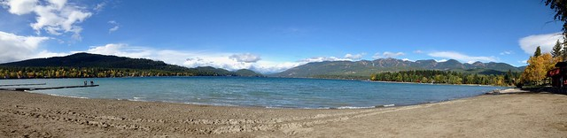 Whitefish, Montana scenes - City Beach, with Big Mountain on right