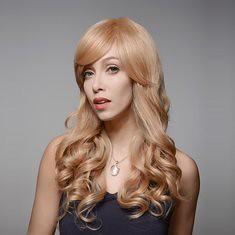 8 Colors Curly Wave Side Bang Human Long Hair Wig Virgin Remy Mono Top Capless (1064940) #Banggood