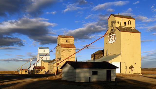 Grain Elevators. Mossleigh Alberta.