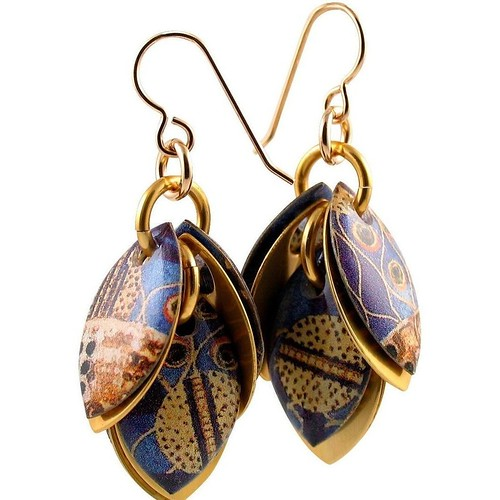 Gustav Klimt Judith Cluster-Style Dangle Earrings by Diana Ferguson Jewelry
