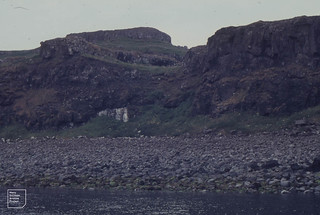 Staffa north east end from boat. August 1968. Sheep tracks