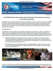 Northern California Fusion Center: Violent Tactics Showcased at Berkeley Riots Likely to be Used at Future Demonstrations