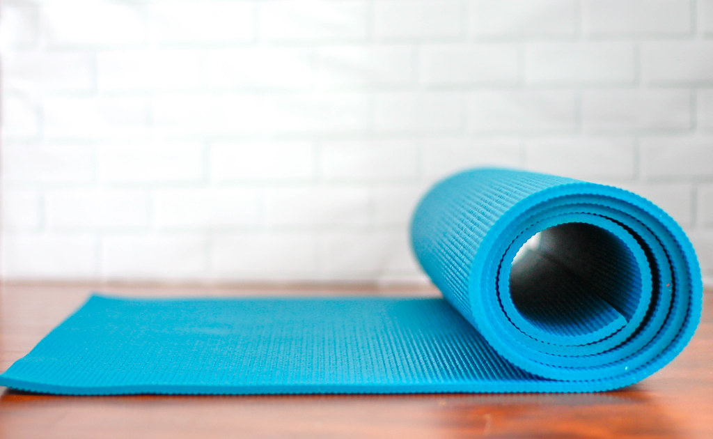 Roll-Up Yoga Mat on a White Background