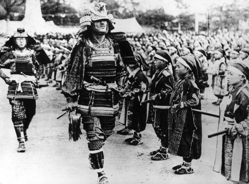 Younger and older samurais at a pageant in Japan, between the two World Wars, circa 1930 Getty Images Hulton Archive