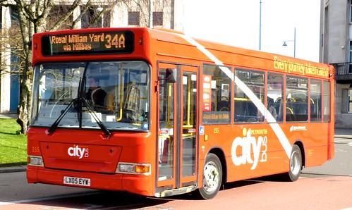 LX05 EYW 'Plymouth citybus' No. 255 'city' Dennis Dart SLF / Plaxton Mini Pointer on 'Dennis Basford's railsroadsrunways.blogspot.co.uk'