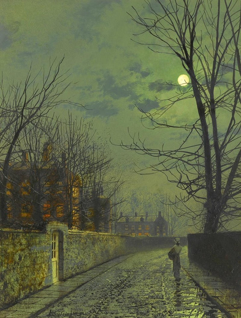 A moonlit street after rain by John Atkinson Grimshaw, 1881