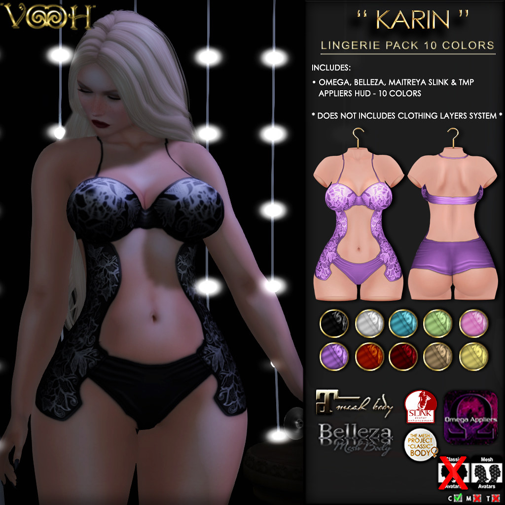""" VOOH "" NEW RELEASE! KARIN LINGERIE IN 10 COLORS"