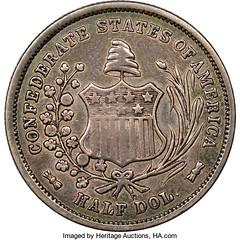 1861 Original Confederate States of America Half Dollar reverse