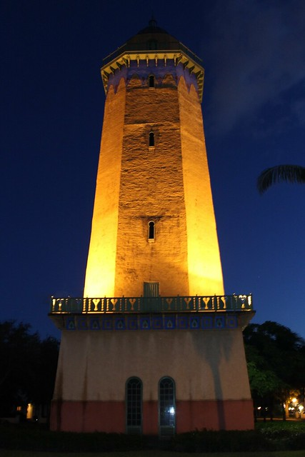 Alhambra Water Tower Coral Gables Night View