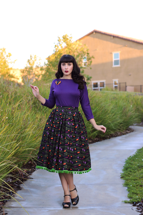 Miss Fortune Kitty Batwing Top in Purple Boardwalk Skirt in Haunted Hill Erstwilder Bat Cat Brooch