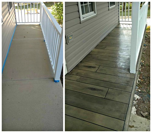 Before & After - Gray Weathered Concrete Wood - Durham, NC