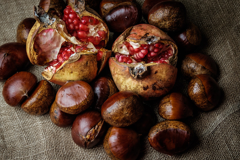 Pomegranate and chestnut