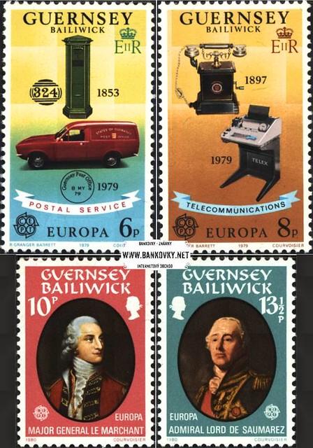 Známky Guernsey 1979 Pošta + osobnosti, 2 razítkované série